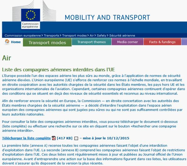 16 Commission Europeenne Liste Compagnies aeriennes interdites