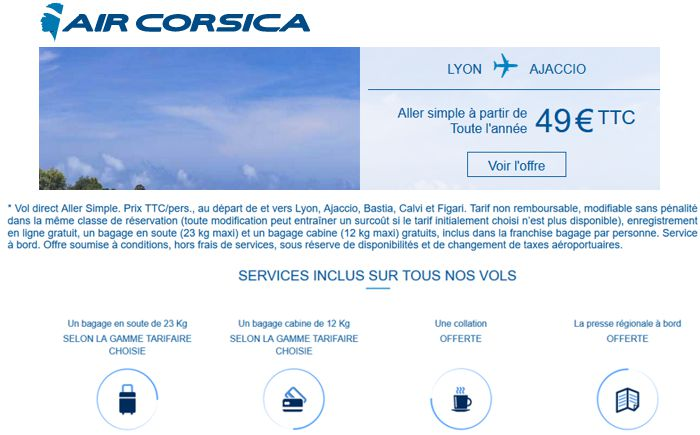 20 Air Corsica Offre aller simple 49 €