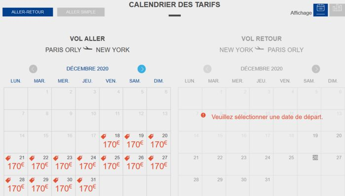 20 Frenchbee Vol Paris New York Calendrier tarifaire