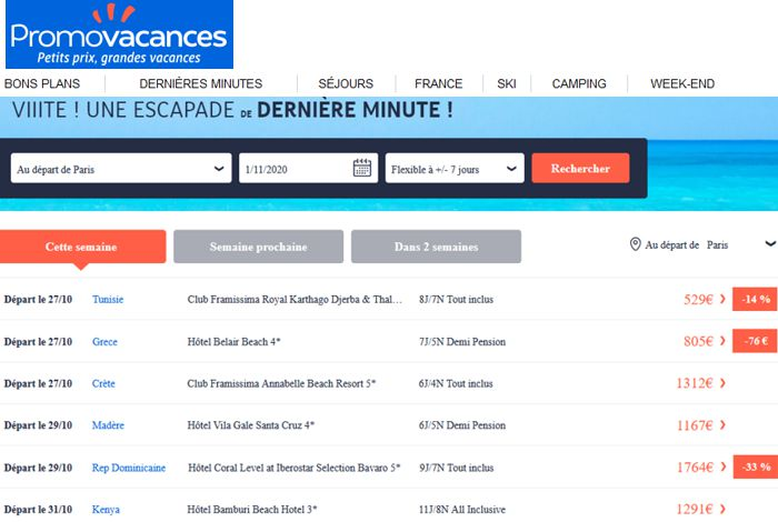 20 Promovacances Derniere Minute