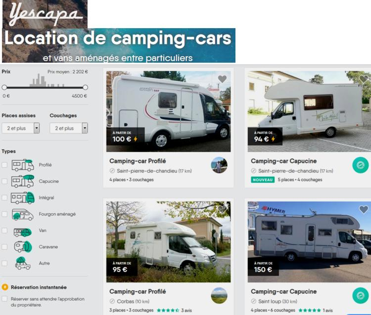 18 Yescapa Location Camping Cars