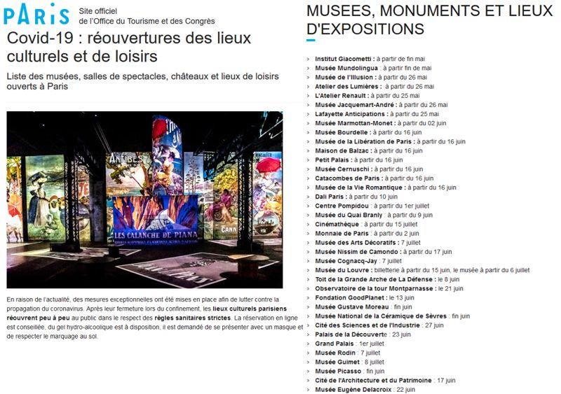 20 Paris Liste Reouverture Musees Monuments Expos