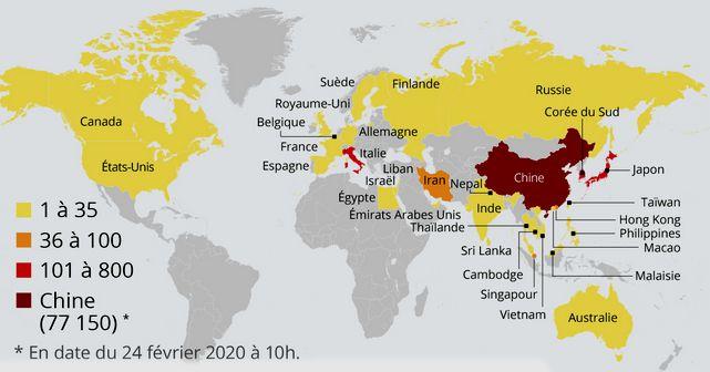 20 Carte Epidemie Coronavirus Monde 24 Fevrier 2020